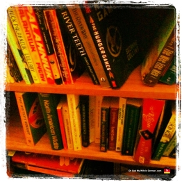 Our bookshelf, including: The Hunger Games; Chuck Palahniuk's Lullaby, Pygmy, Fight Club and Survivor; The Religion by Tim Willocks; The Wee Free Men; and The World According to Garp