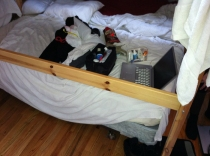 Our bed, after that incredible first night. Oh God.