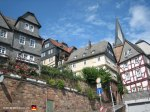 More half-timbered buildings on the way up to the Landgrafenschloss (Marburg Castle).