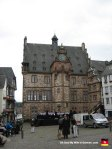"This is Marburg's Rathaus (Town Hall.) As you can see, there were a bunch of dudes singing in front of it that day. I choose to believe they were belting out a passionate rendition of the  ""Chicken Dance."""