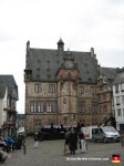 """This is Marburg's Rathaus (Town Hall.) As you can see, there were a bunch of dudes singing in front of it that day. I choose to believe they were belting out a passionate rendition of the  """"Chicken Dance."""""""