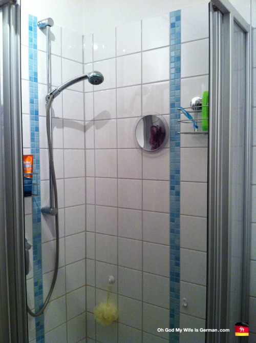Shower stall in a bathroom in Hannover, Germany