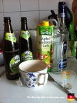 Apfel Sandorn Saft Gut Bio, vodka and Maiboch beer