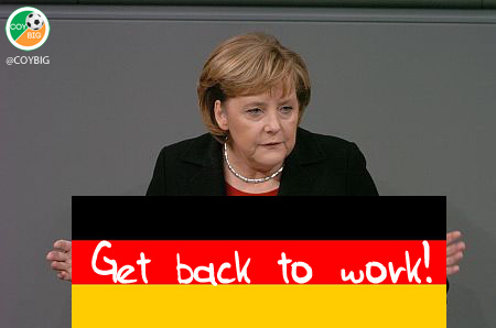 angela merkel get back to work sign