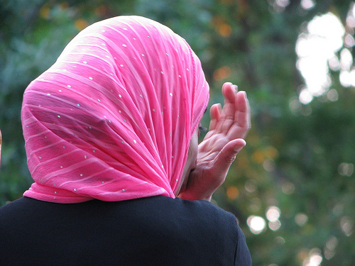 Muslim Woman in Pink Headress (Hijab)