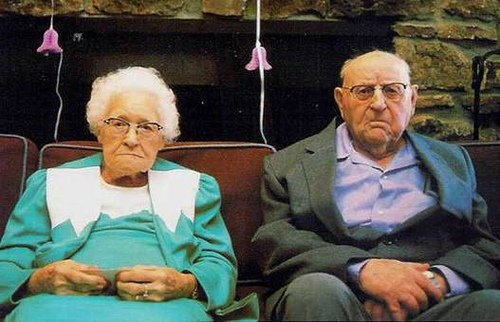 Funny Old Couple Waiting for Death / God