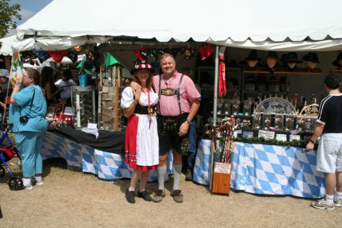 funny german couple at festival