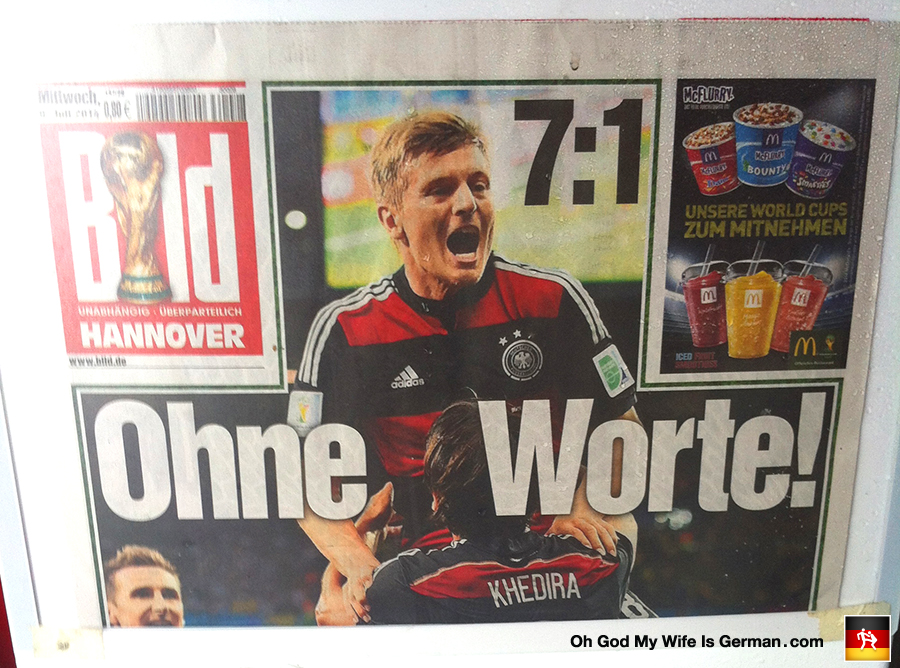 bild newspaper headline germany brazil 1 7 fifa world cup. Black Bedroom Furniture Sets. Home Design Ideas