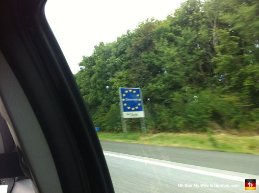 Here's the sign telling us we were about to cross the border into Denmark. Worst picture ever!