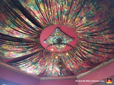 This is the ceiling inside the Pied Cow Coffeehouse on SE Belmont. You can get super fat on coffee and dessert there, and even smoke hookahs, just like Jabba the Hutt.
