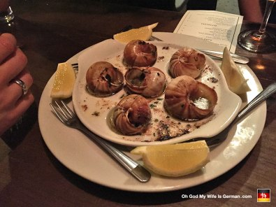 Check it out, yo: Escargot on NE Mississippi. They say never to cut the snails in half before eating them. Now I understand why. *Shudder*