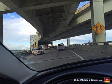 """Here we are, sitting on the Freemont Bridge during rush hour. Because my wife is German and her accent refuses to accept a hard J sound, she would call this a """"traffic yam."""""""