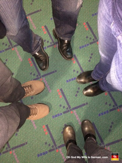"This is the hideous carpet at the Portland Airport. It's super old and they're going to replace it soon, so everyone is taking pictures of it before it's gone. I'm the one doing the ""cowboy"" stance."