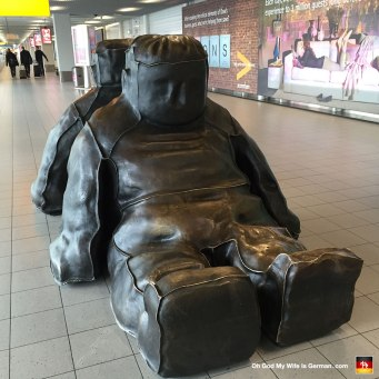 """This is a sculpture you can see at the Schiphol airport in Amsterdam. It's called, """"Two incredible sitting black snowmen."""""""