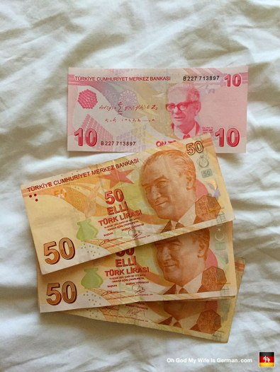Check it out, yo: Turkish Lira! And 1 Turkish Lira equals 0.35 Euro, so you party in Konya pretty hard. (Minus the booze, of course.)