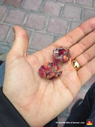 Turkish Delight! I liked these ones best, because they were pressed with rose petals. (My wife didn't like them though, because she's a huge pussy.)