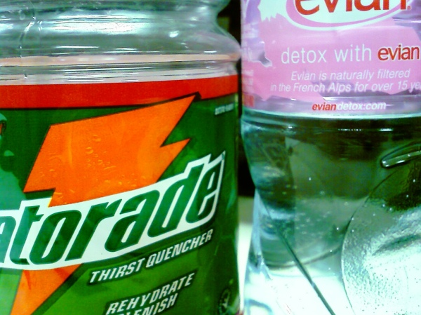 Gatorade Sports Drinks v.s. Evian Water