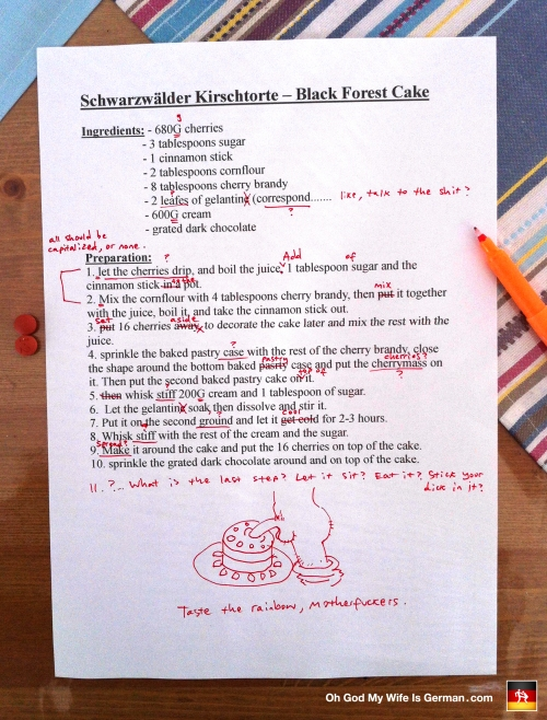 German and English Language Editing - Schwarzwalder Kirschtorte (Black Forest Cake) Funny Recipe Corrections