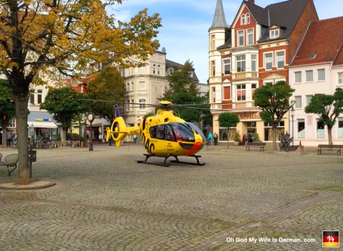 ADAC Helicopter Lands in Peine, Germany