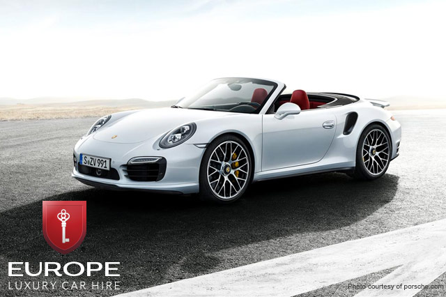 The Porsche 911 Turbo Cabriolet, available at Europe Luxury Car Hire