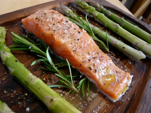 Planked Alaskan salmon and asparagus