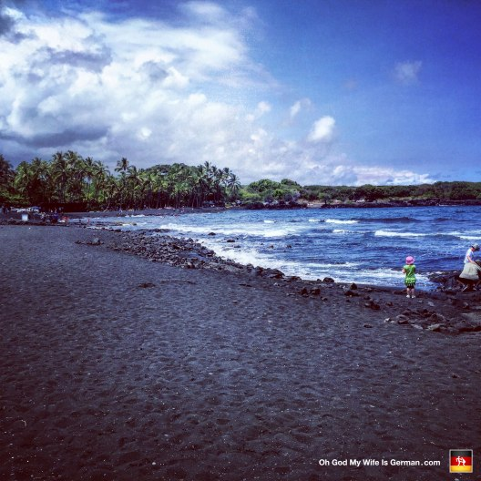 This is Punalu'U -- a black sand beach on the south side of the island. And I have to say, the name itself is about as exciting as this beach gets.