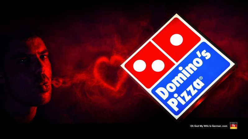 Dominos Pizza Sign and heart smoke ring - I love pizza
