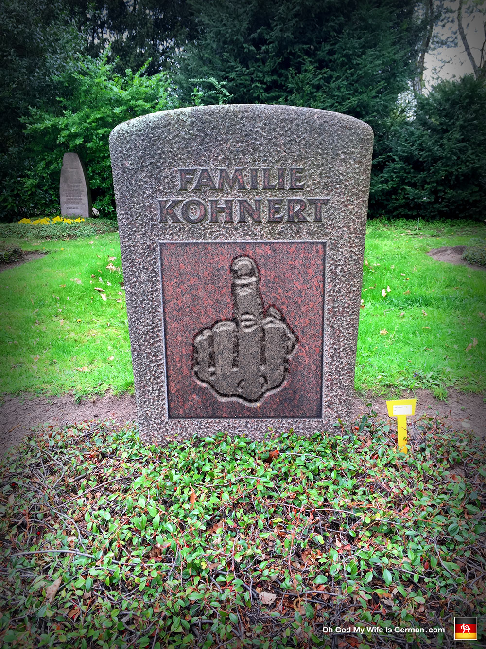 Funny German Gravestone Middle Finger