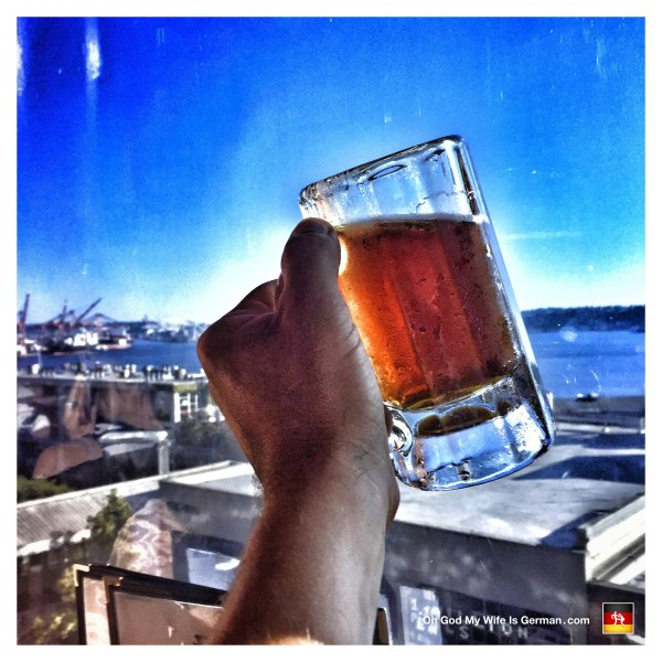 Mug of beer at the Athenian at Pike Place Market in Seattle, WA