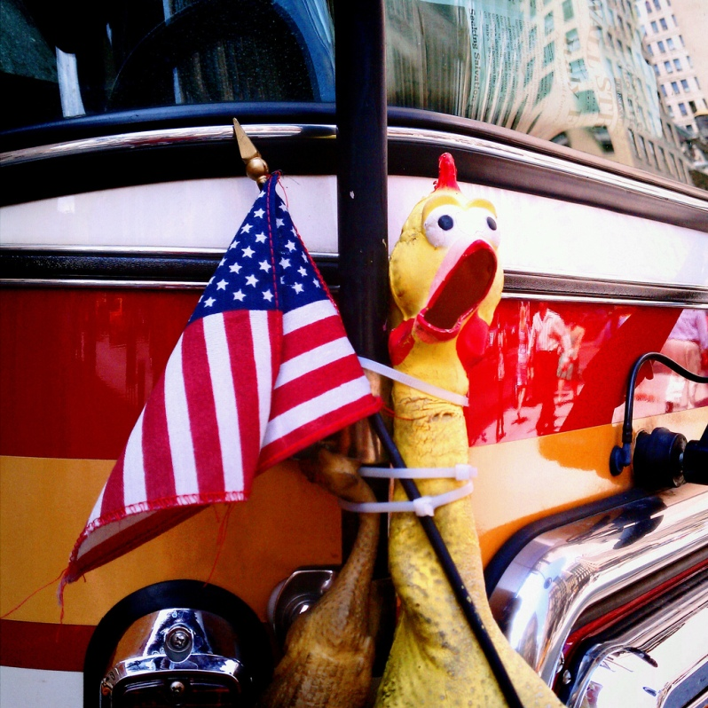 Funny American Flag with Chicken NYC